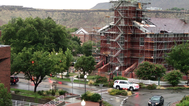 Attic of St. George Tabernacle catches fire after lightning strike