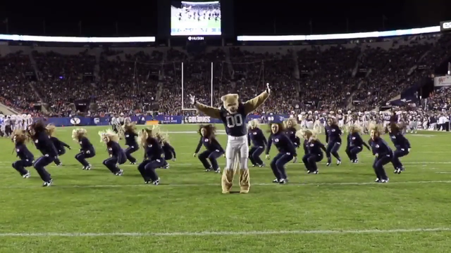 BYU's Cosmo busts a move with dance team