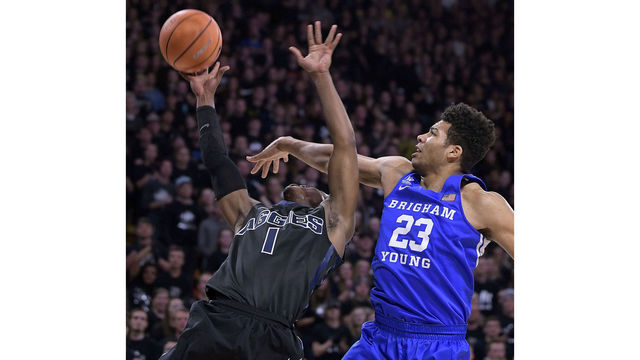 BYU holds off Utah State for second in-state win, 75-66