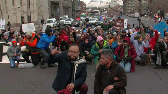 protesters take a knee