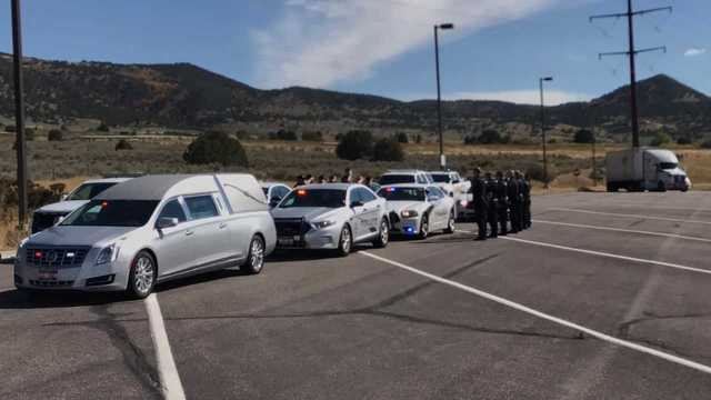 Utah Highway Patrol Troopers help escort body of fallen officer to Idaho