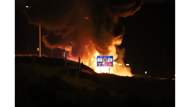 tanker fire from the road