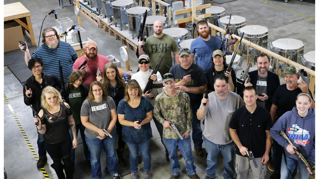 company gifts all employees with handguns rifles for christmas